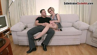 Big ass blonde in nylon stockings having her shaved pussy banged hardcore in reality shoot