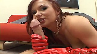 Horny ginger harlot in red latex gloves gets ass fucked in cowgirl pose