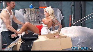 inked blonde shows up at the job