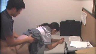 Hairy Jap teen nailed at school in voyeur Japanese sex clip
