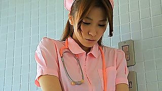 Attractive Asian nurse Rei Toda takes her clothes off
