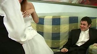 Nasty blonde bride sucks hard dicks of horny guests