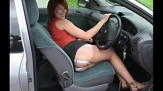 Outdoor stockings in a car with a dark haired bird