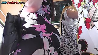 Honey on the bus got a-hole upskirt voyeured