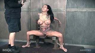 Juggy tattooed bitch gets her pussy and tits punished