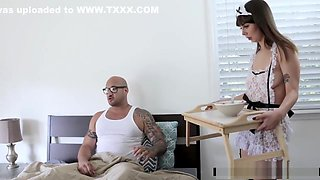 Submissive maid gets spanked by her master