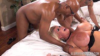 Interracial gangbang with always horny Alura Jenson