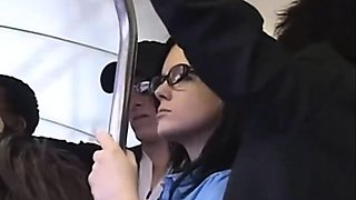 Stephanie got facial with virbator in her pussy on the bus
