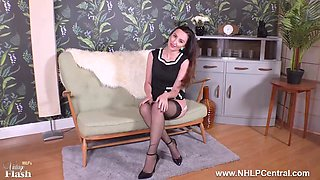 Brunette teases in black nylons heels strips for you to wank