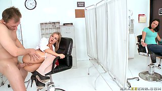 Tight butthole of curvaceous nurse Bree Olson gets railed in doggy pose