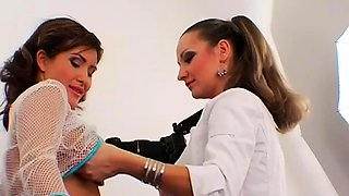 Elegant female-dom live out her fetish fucking maid with toy