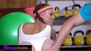 Fitness Rooms Sexy gym Latina and Czech babes fuck their trainer