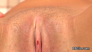 Fervid sweetie is gaping pink slit in closeup and cumming