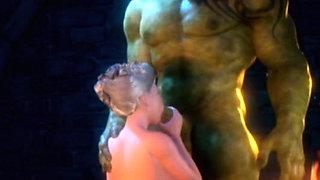 3D Elf Princess Ravaged by Orc!