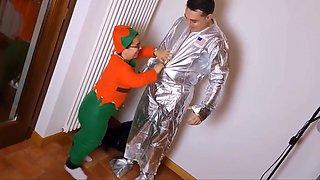 Dwarf makes a blowjob to an astronaut
