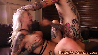 Tattooed slut gets cummed