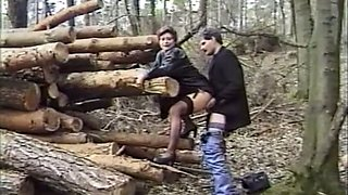 Filthy and busty redhead milf lady having sex in the woods