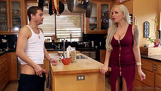 Bimbo housewife in a skintight dress fucked by a stud
