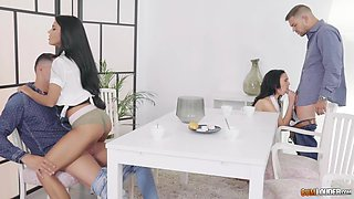 Sexy babes Apolonia and Gina attacked by two nasty lovers