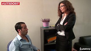 Letsdoeit french boss lady takes a big cock on her desk
