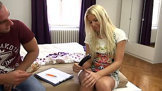 Cute auburn leggy girl Karol Lilien shamelessly stimulates her clit