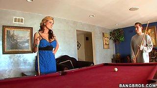 Lovely blond Nikki is having sex after a long date