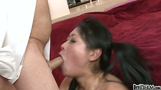 White horny stud doggy fucks sexy Asian girl Yuki Mori with passion