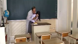 Asian Teacher Forced in Classroom