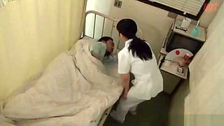 Cute nurse giving a amazing blowjob on hospital bed