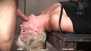 Mature blonde slave Helena Locke abused with cock in her throat