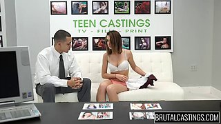Sexy teen girl fucked like last whore on brutal casting