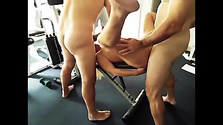 Mature getting gangbanged in the gym