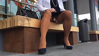 Crossdresser masturbating in public
