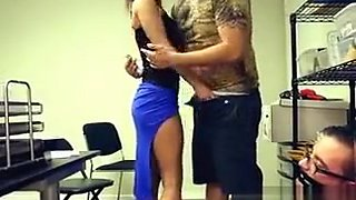Guy Watches His Girlfriend Norah Suck Cock In the Office