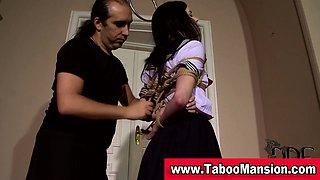 Watch this sexy brunette teen schoolgirl getting bound in