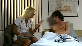 Hot and sexy blonde nurse feels horny for young patient