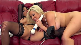 Stacked and lustful cougars Missy and Spencer have fun with sex toys