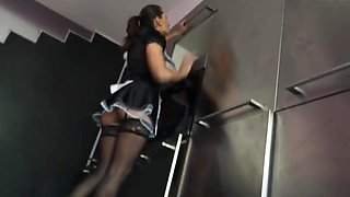 Wife lose a bet and cleaning up house of her boss