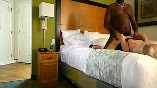 Alluring blonde wife gets double drilled by two black studs
