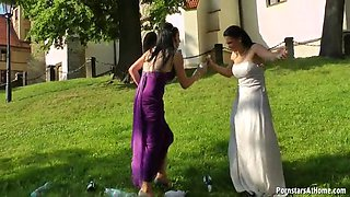 two lesbians get drunk and wet in public