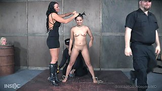 Milcah Halili strapped to the floor and abused by mistress Lorelei Lee