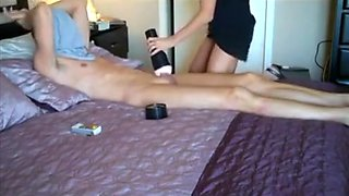 Mom catches son using his fleshlight and decides to help