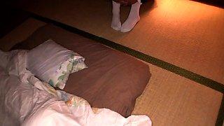 Tiny Japanese maid with tanlines threeway nailed