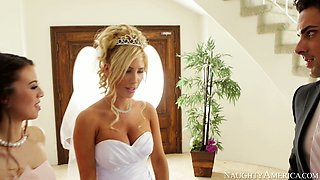 Sexy bride Tasha Reign kisses passionately at the wedding