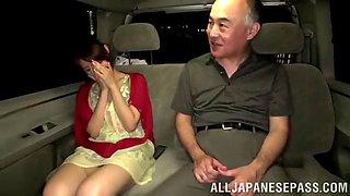 hot asian slut blows an old guy in a car