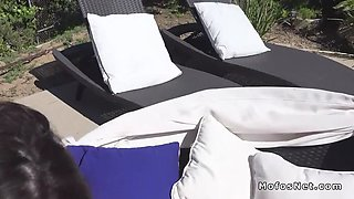 brunette in bikini anal fucks at poolside