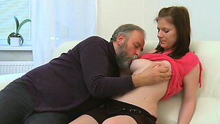 Juicy young chick enjoys getting old weenie in pussy