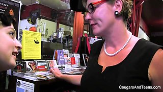 Milf In Glasses Spanks Her Stepdaughter's Ass In The Shop - CougarsandTeens