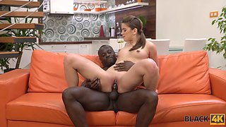 A bit shy Russian chick Evelina Darling tries out to take strong BBC into slit