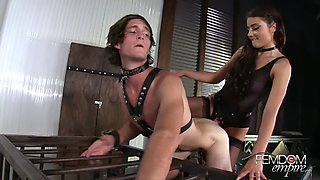 mistress gives a good pounding with a strapon to her slave